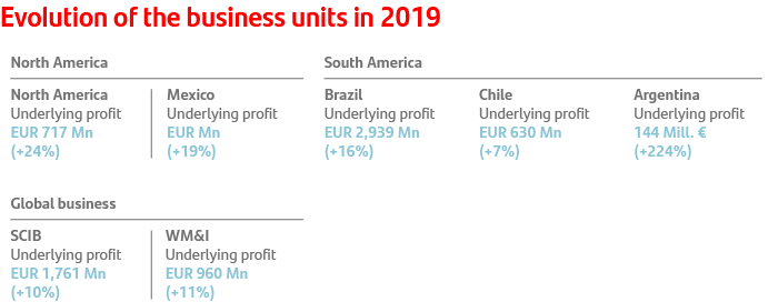 Evolution of the business units in 2019: North America: USA +24%, Mexico +19%. South America: Brazil +16%, Chile +7%, Argentina +224%. Global business: SCIB +10%, WM&I +11%.